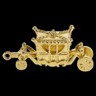 9K 3D Articulated Ornate Royal Carriage Charm/Pendant Yellow Gold  [QRXT]