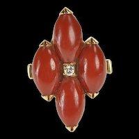 14K Cinnabar Diamond Cluster Convertible Pendant Ring Size 6.75 Yellow Gold [QRXW]