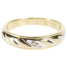 10K Two Tone Diamond Retro Striped Wedding Band Ring Size 6.75 Yellow Gold [QWQX]