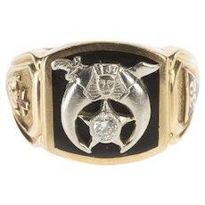 14K Ornate Diamond Shriners Black Onyx Enamel Ring Size 9.25 Yellow Gold [QWQX]