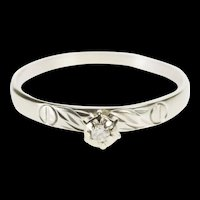 10K Retro Diamond Solitaire Etched Cross Promise Ring Size 10.5 White Gold [QRXW]