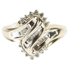 10K Diamond Inset Freeform Cluster Fashion Ring Size 7.5 Yellow Gold [QWQX]