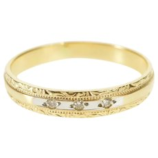 14K Diamond Ornate Retro Scroll Wedding Band Ring Size 5.25 Yellow Gold [QWQX]