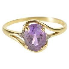 10K Oval Amethyst Diamond February Birthstone Ring Size 6.25 Yellow Gold [QWQX]
