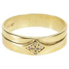 14K Retro Ornate Men's Diamond Wedding Band Ring Size 11 Yellow Gold [QWQX]