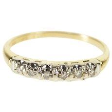 14K Retro Diamond Inset Classic Wedding Band Ring Size 5.25 Yellow Gold [QWQX]