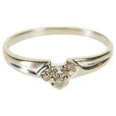 10K Retro Three Stone Diamond Promise Ring Size 8.5 White Gold [QWQX]