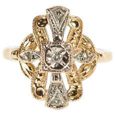 14K Two Tone Ornate Diamond Inset Engagement Ring Size 4 Rose Gold [QWQX]