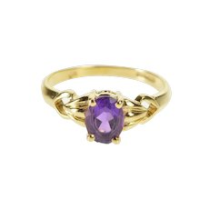 14K Oval Amethyst Solitaire February Birthstone Ring Size 5.5 Yellow Gold [QWQX]