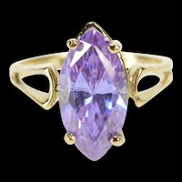 10K Marquise Purple Cubic Zirconia Solitaire Ring Size 4.75 Yellow Gold [QRXW]