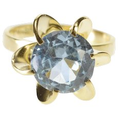 14K 1960's Blue Topaz Retro Swirl Spiral Cocktail Ring Size 6.75 Yellow Gold [QWQX]