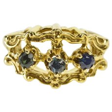 14K Ornate Sapphire Three Stone Cocktail Fashion Ring Size 6 Yellow Gold [QRXW]