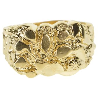 10K Men's Ornate Textured Raw Nugget Pattern Band Ring Size 9.25 Yellow Gold [QWXR]