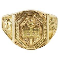 10K 1960's Ornate Roosevelt High School Class Ring Size 6.5 Yellow Gold [QWXR]