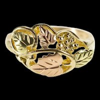 14K Black Hills Two Tone Leaf Pattern Cluster Ring Size 7.75 Yellow Gold [QRXW]