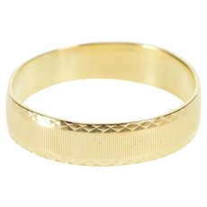 14K 5.4mm Grooved Pattern Men's Wedding Band Ring Size 11.75 Yellow Gold [QWXR]
