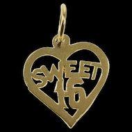 14K Heart Sweet 16 Sixteenth Birthday Sixteen Charm/Pendant Yellow Gold  [QRXK]