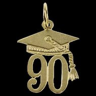 14K Class of '90 Graduate Graduation Cap Diploma Charm/Pendant Yellow Gold  [QRXK]