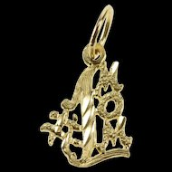 14K #1 Number One Mom Mother Mother's Day Charm/Pendant Yellow Gold  [QRXK]