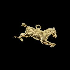 14K Stylized Puffy Jumping Horse Equestrian Charm/Pendant Yellow Gold  [QWQX]