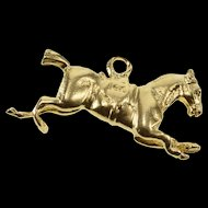 14K Stylized Puffy Jumping Horse Equestrian Charm/Pendant Yellow Gold  [QRXK]