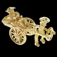 14K 3D Articulated Rickshaw Pulled Cart Charm/Pendant Yellow Gold  [QRXK]