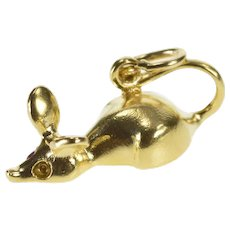 14K 3D Mouse Stylized Rodent Animal Charm/Pendant Yellow Gold  [QRXK]