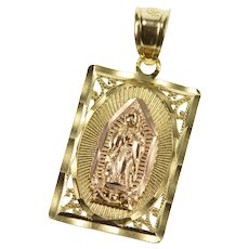 10K Virgin Mother Mary Lady Guadalupe Christian Pendant Yellow Gold  [QRXK]