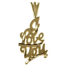 14K I Love You Romantic Anniversary Gift Pendant Yellow Gold  [QRXK]