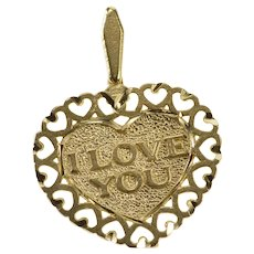 14K I Love You Heart Romantic Anniversary Gift Pendant Yellow Gold  [QRXK]