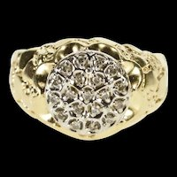 10K Round Diamond Cluster Textured Nugget Men's Ring Size 9.75 Yellow Gold [QRXW]