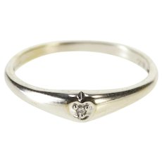 10K Diamond Solitaire Heart Promise Band Cute Ring Size 5.5 White Gold [QWQX]