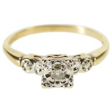 14K Retro Diamond Inset Engagement Promise Ring Size 7.25 Yellow Gold [QWQX]