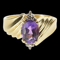10K Oval Amethyst Diamond Cluster Accent Freeform Ring Size 6.5 Yellow Gold [QRXW]
