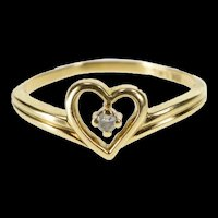 10K Diamond Solitaire Heart Love Symbol Promise Ring Size 5.25 Yellow Gold [QRXW]
