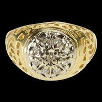 14K Round Diamond Cluster Scroll Swirl Filigree Ring Size 6 Yellow Gold [QRXW]