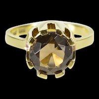 14K Round Retro Ornate Smokey Quartz Solitaire Ring Size 5.75 Yellow Gold [QRXR]