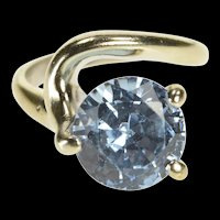 10K Retro Round Blue Topaz Freeform Solitaire Ring Size 6.25 White Gold [QRXR]