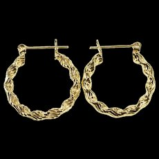 14K Puffy Grooved Twist Spiral Hoop Earrings Yellow Gold  [QWQX]