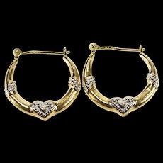 14K Retro Two Tone Heart Puffy Fashion Hoop Earrings Yellow Gold  [QWQX]