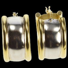 14K Two Tone Curved Simple Fashion Hoop Earrings White Gold  [QWQX]