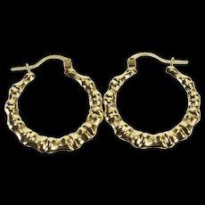 14K Retro Bamboo Pattern Puffy Fashion Hoop Earrings Yellow Gold  [QWQX]