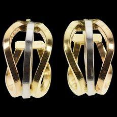 14K Tri Tone Wavy Squared Tube Fashion Hoop Earrings Yellow Gold  [QWQX]