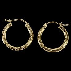 14K Etched Wreath Pattern Fashion Hollow Hoop Earrings Yellow Gold  [QWQX]