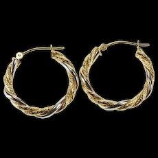 10K Two Tone Twist Rope Pattern Fashion Hoop Earrings Yellow Gold  [QWQX]