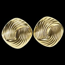 14K Retro Rounded Square Puffy Spiral French Back Earrings Yellow Gold  [QWQX]