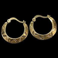14K Geometric Triangle Pattern Fashion Hoop Earrings Yellow Gold  [QWQX]