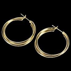 14K Retro Tiered Twist Design Simple Fashion Hoop Earrings Yellow Gold  [QWQX]