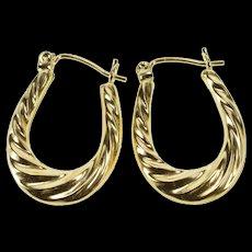 14K Graduated Puffy Oval Twist Fashion Hoop Earrings Yellow Gold  [QWQX]