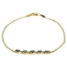 "10K Oval Sapphire Diamond Accent Square Link Bracelet 7.25"" Yellow Gold [QRXR]"